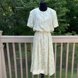 Vintage 80s does 40s Button Front Tea Midi Dress